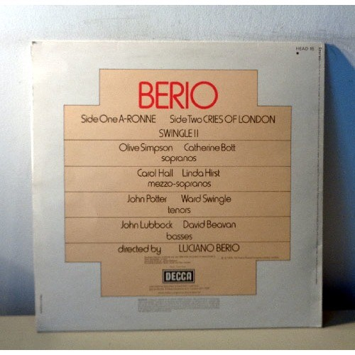 LUCIANO BERIO BERIO Ronnie - Cries of London