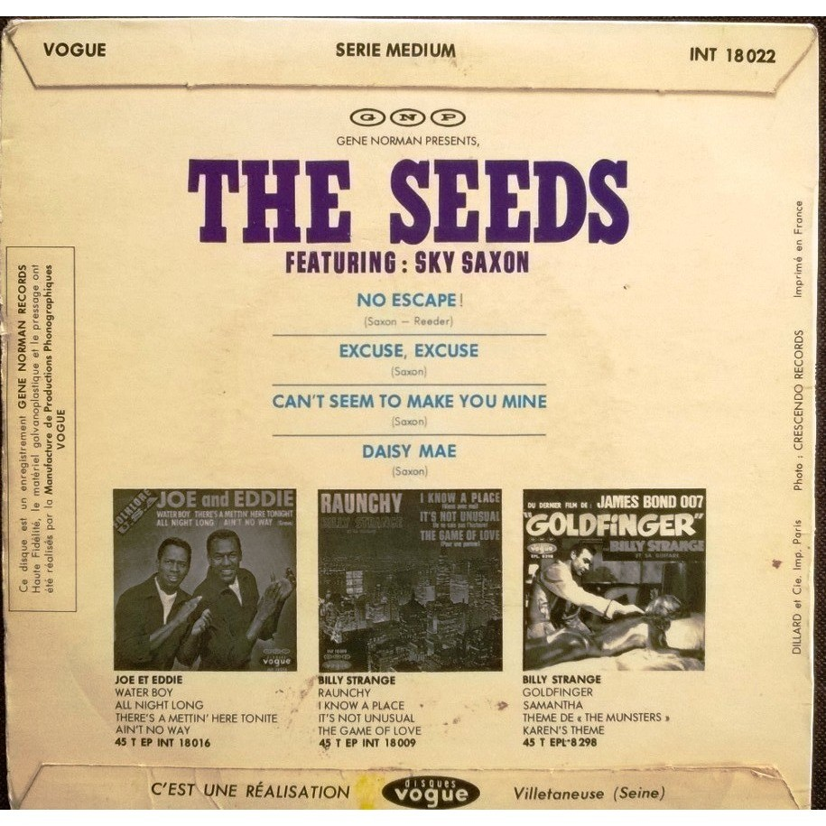 the seeds & sky saxon no escape / excuse, excuse / can´t seem to make you mine / daisy mae