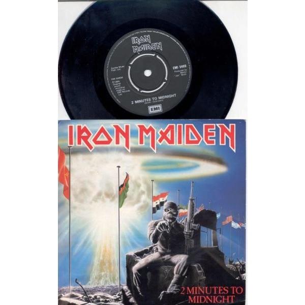 iron maiden 2 Minutes To Midnight (UK 1985 original 2-trk promo 7single full ps)