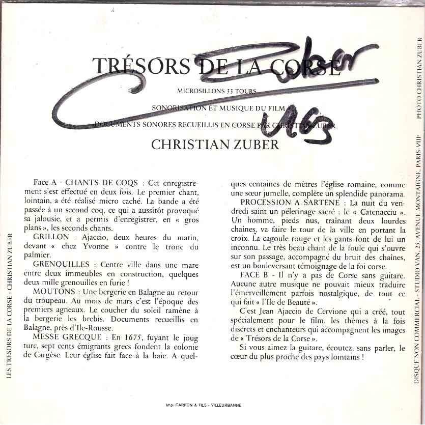 Christian Zuber Tresors de la corse Chants de coqs, grillons, grenouilles, moutons / Messe grecque / guitare