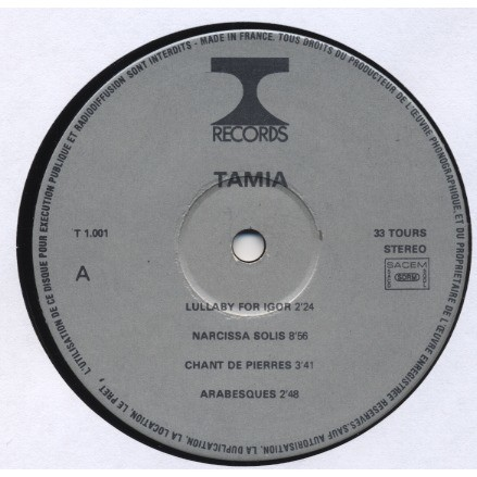TAMIA Valmont Tamia / + Bernard Vitet ( LP quoted in the famous Nurse With Wound List) Experimental - Vocal