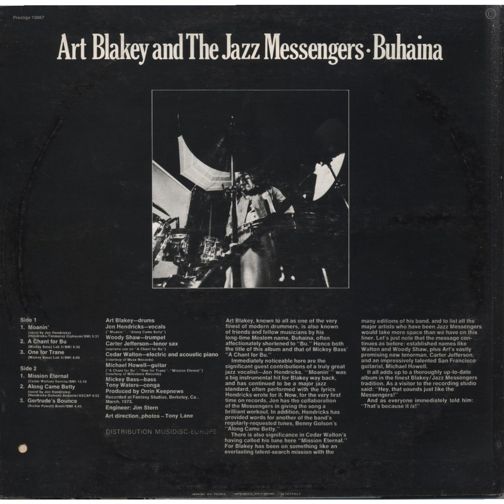 ART BLAKEY and the JAZZ MESSENGERS Buhaina / guest artist: Jon Hendricks (Original 1st pressing France)