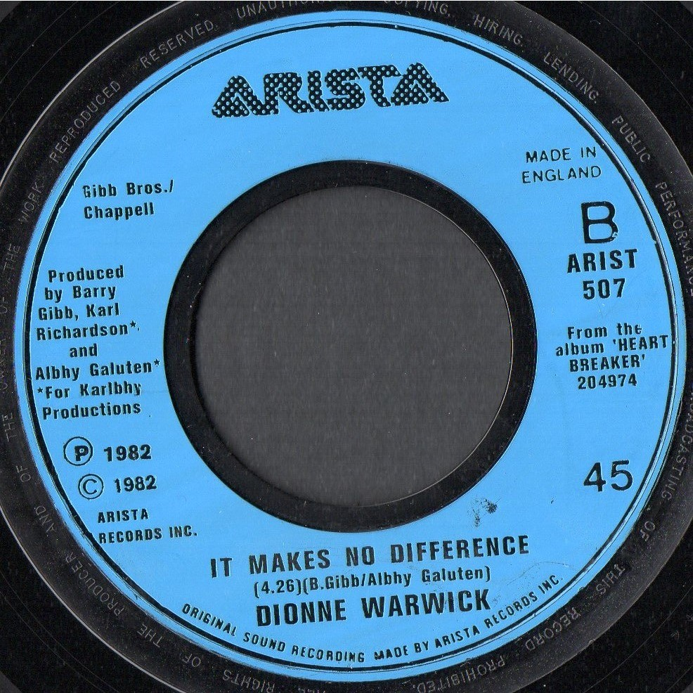 DIONNE WARWICK . ( BEE GEES ) ALL THE LOVE IN THE WORLD - IT MAKES NO DIFFERENCE
