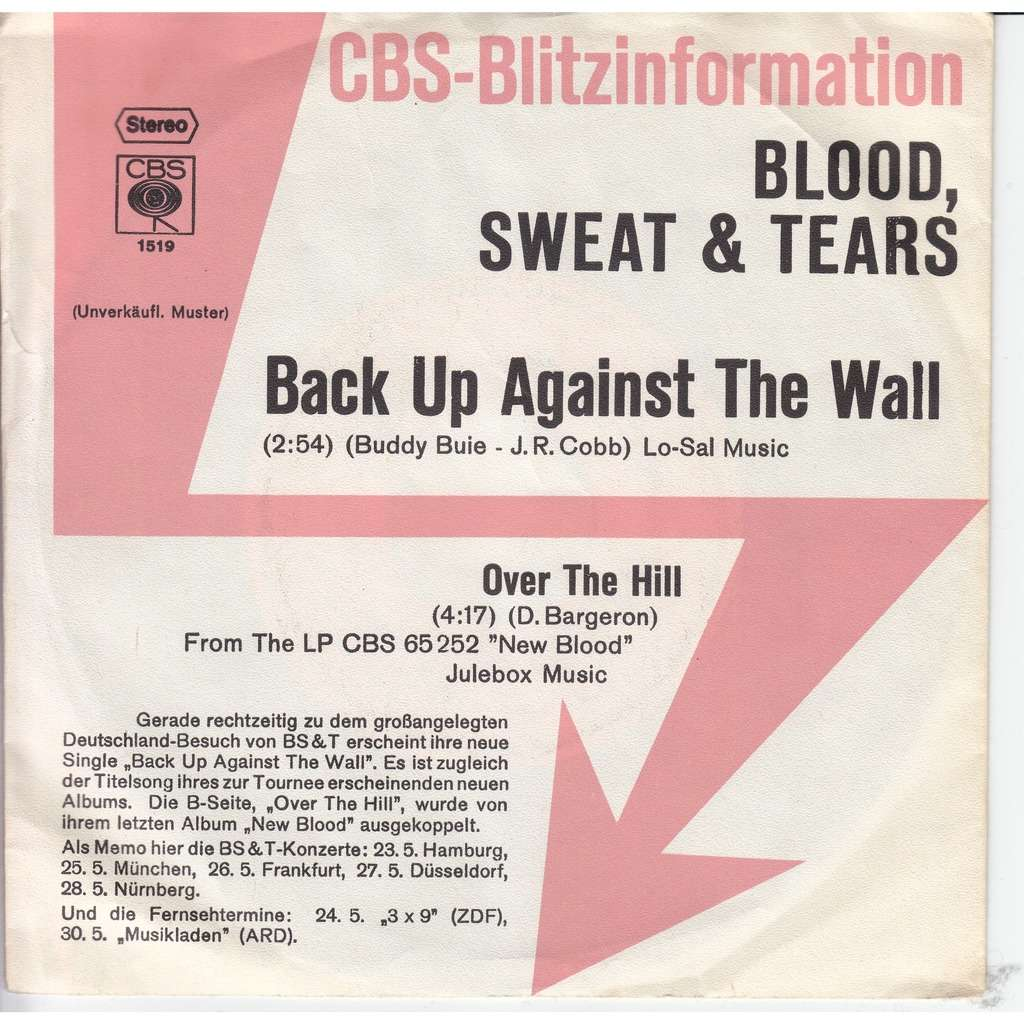 blood sweat & tears Back up against the wall - Over the hill
