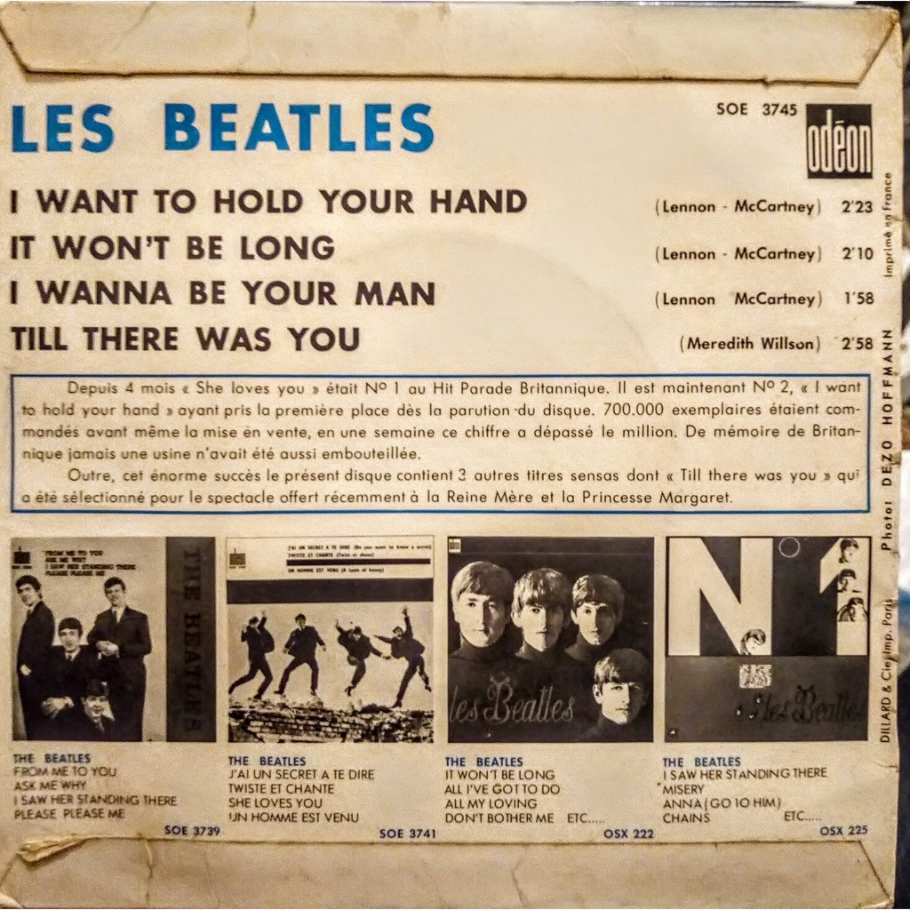 LES BEATLES i want to hold your hand ODEON SOE 3745