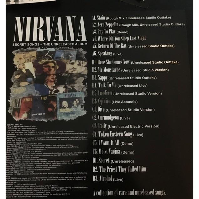 Secret songs – the unreleased album coloured vinyl 2xlp by Nirvana, LP x 2  with irenasl
