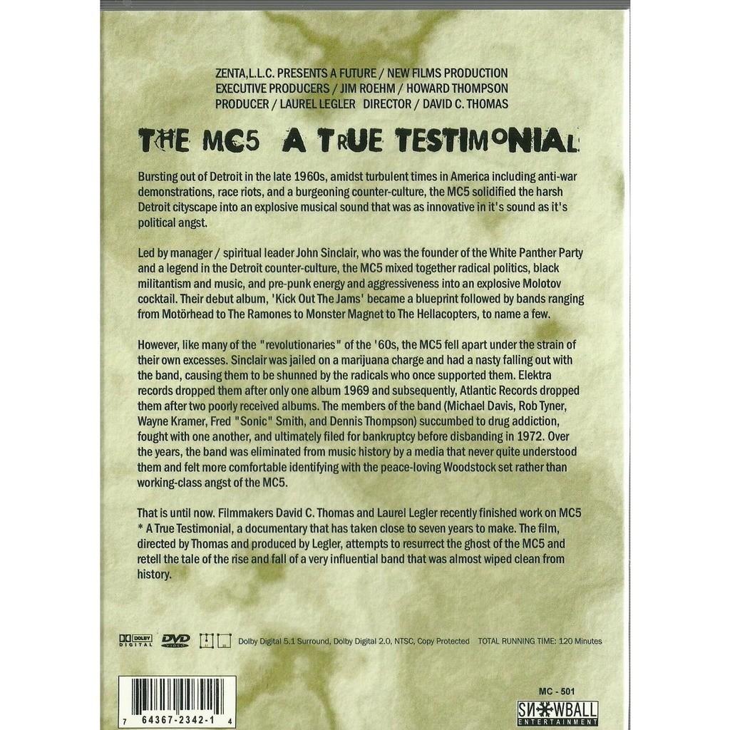 mc5 a true testimonial