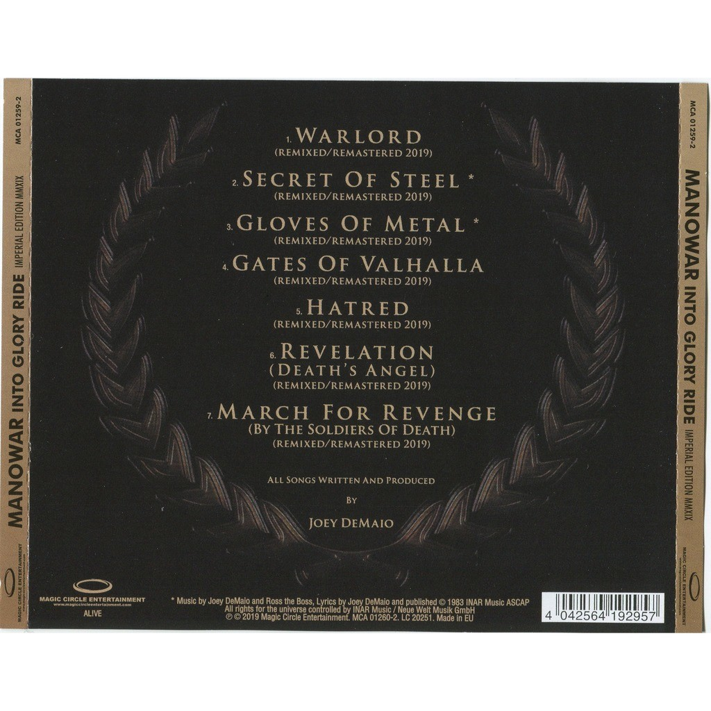 Manowar Into Glory Ride (Imperial Edition MMXIX) CD - New 2019 Remixed & Remastered edition