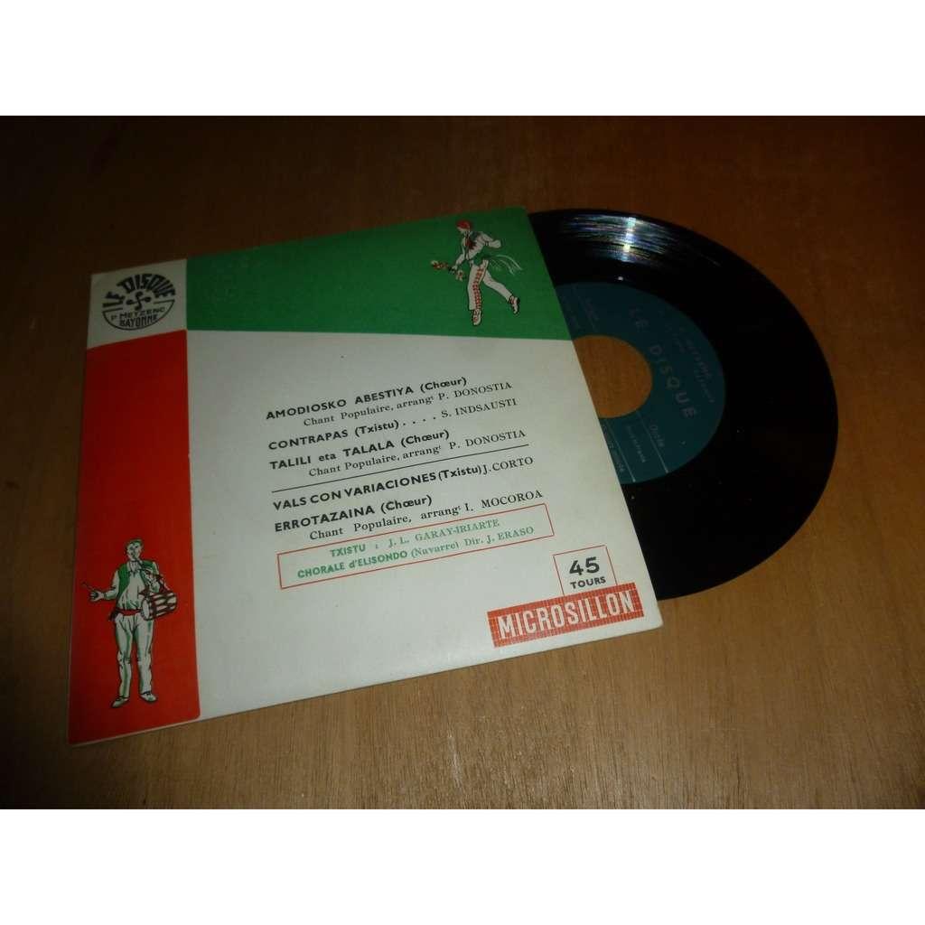 CHORALE D' ELISONDO / TXISTU Amodiosko Abestiya + 3 titres Folk basque