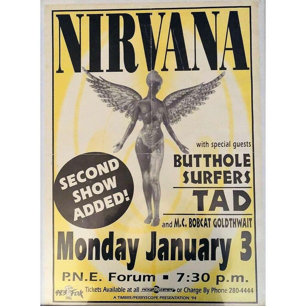 Nirvana / Butthole Surfers / TAD PNE Forum Vancouver Canada 03.01.1994 (Canada 1994 original promo concert poster!!)