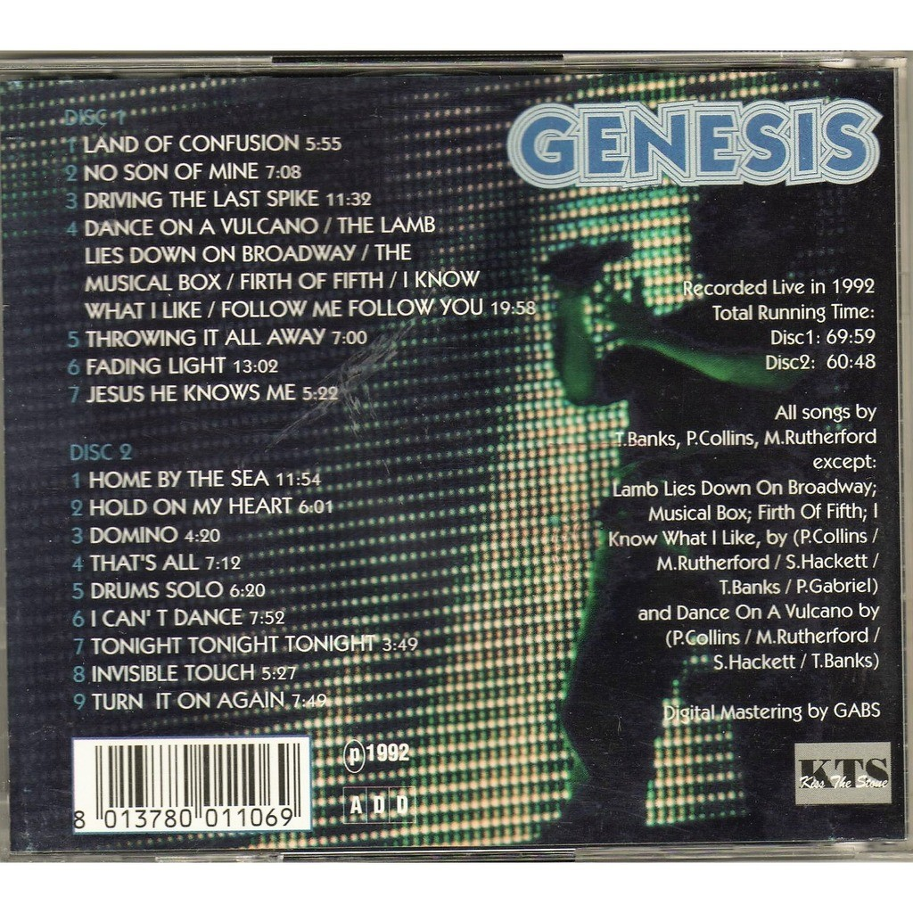 Genesis Summer Nights (Recorded Live In 1992) (KTS lbl original 1992 2cd set ps)