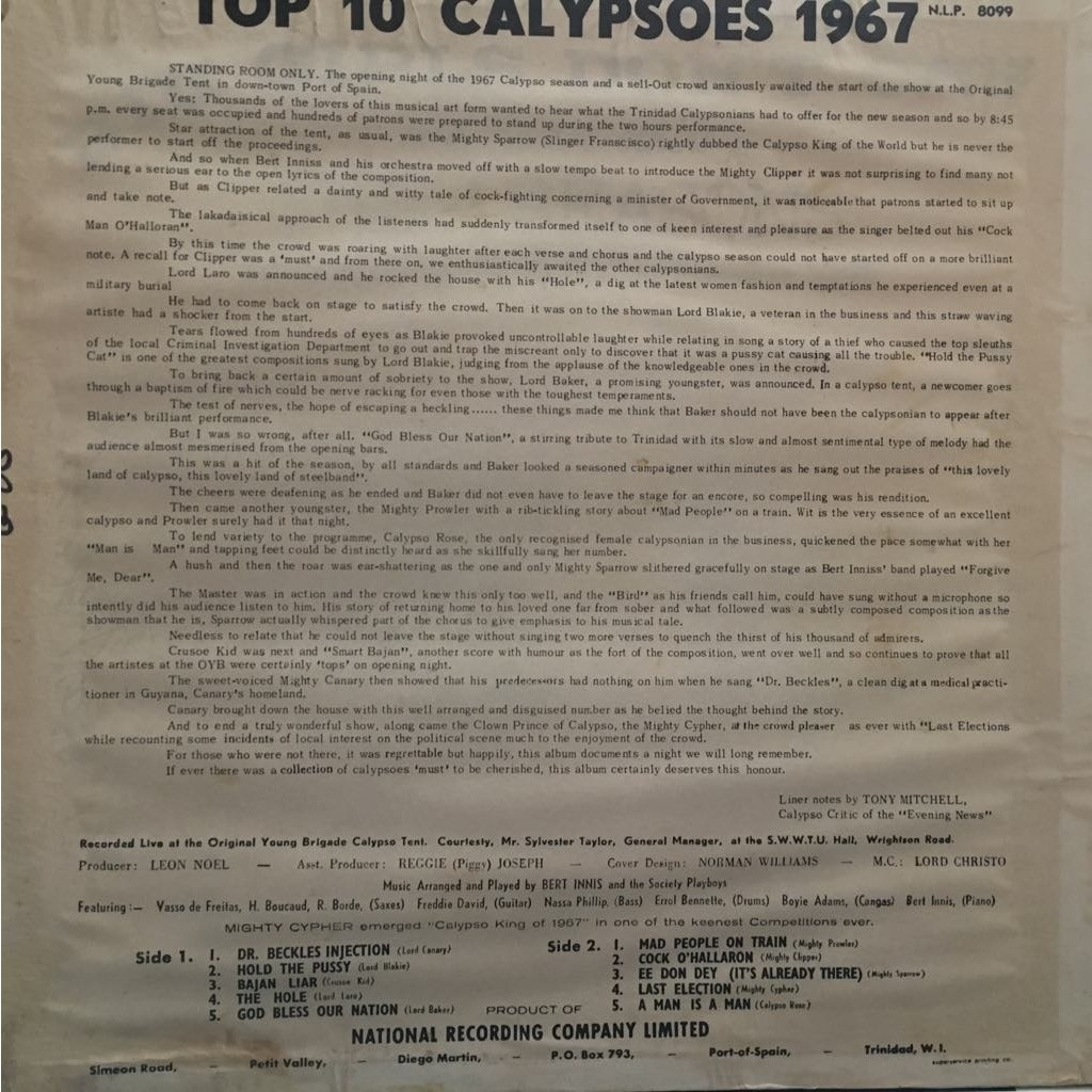 Various Top 10 calypsoes 1967