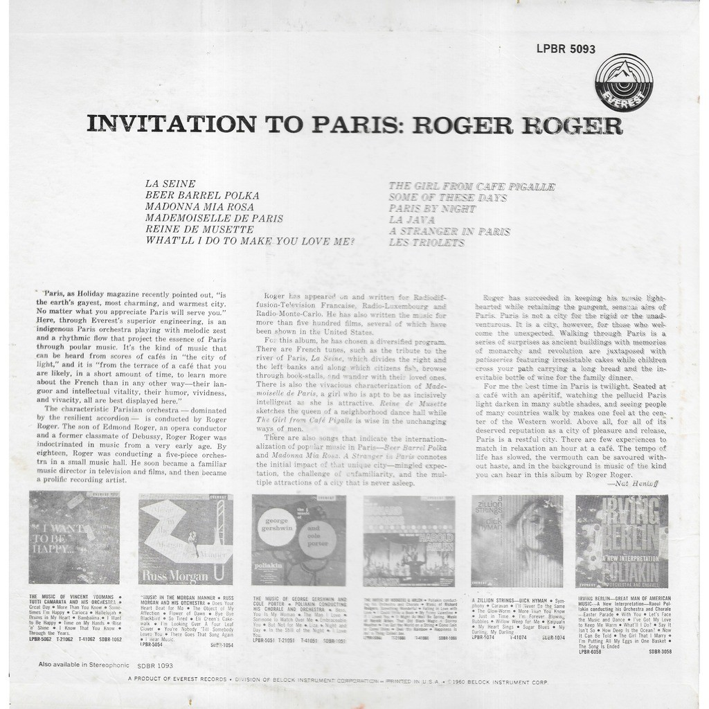 Roger ROGER & son orchestre Invitation To Paris