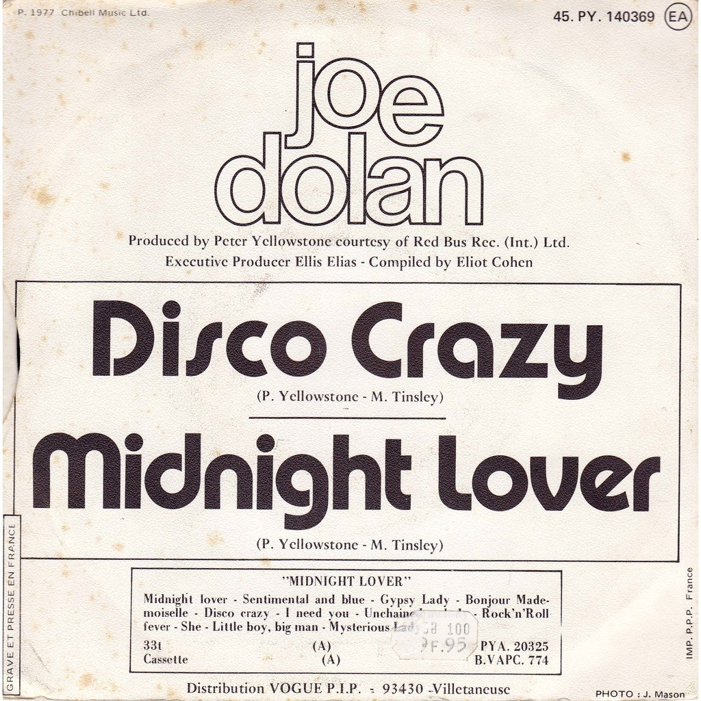 joe dolan midnight lover / disco crazy