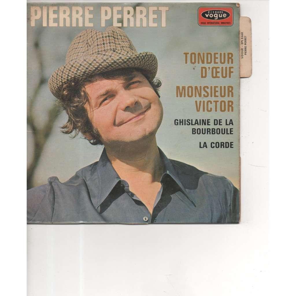 Pierre Perret pochette avec languette Monsieur victor - La corde - Tondeur d'oeuf - Ghislaine de la bourboule