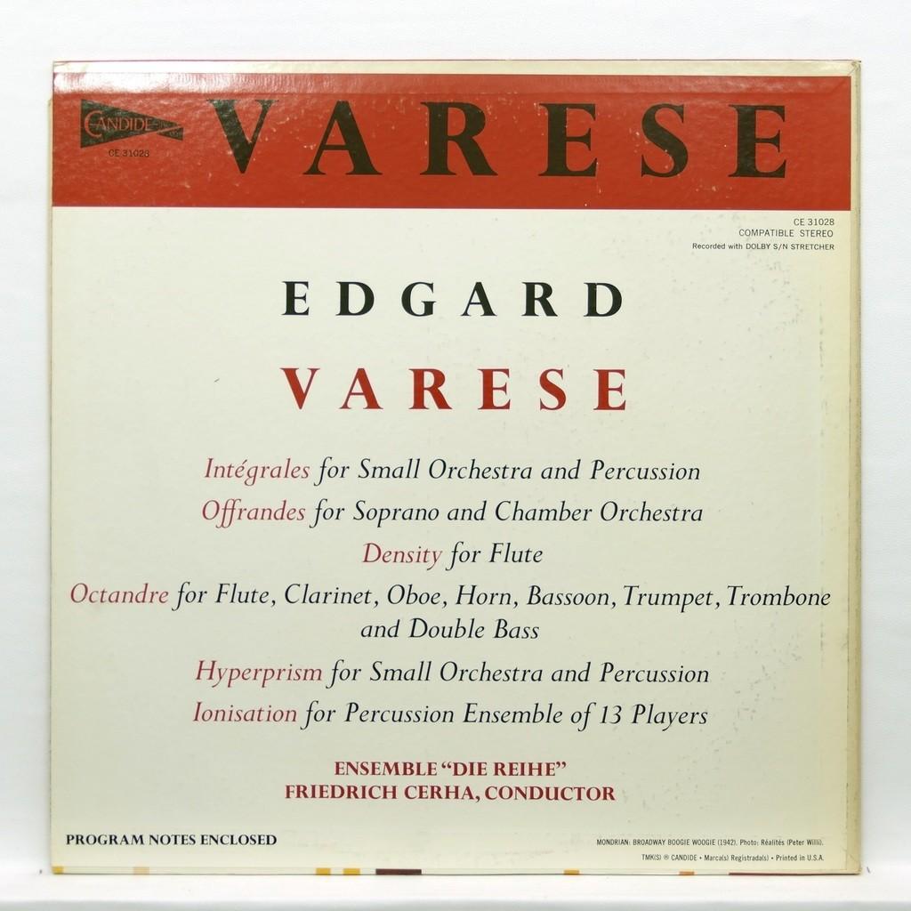 Friedrich Cerha Varese : Density / Intégrales Offrandes / Hyperprism