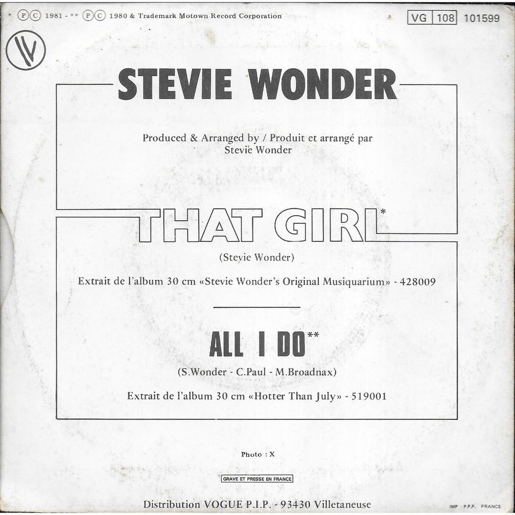 Stevie WONDER That Girl