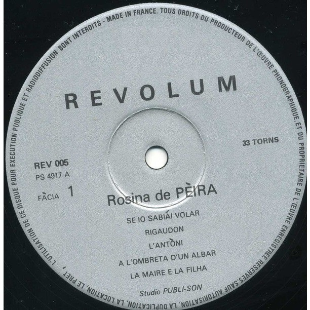Rosina DE PEIRA Same (original French press - 1975 - Pop Folk Occitan Female & Band - Complet copy with insert)
