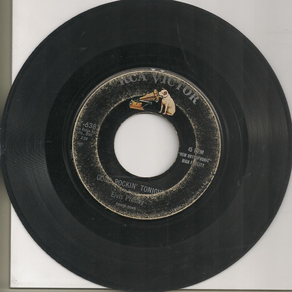 elvis presley 1 black label noir vinyl 45 usa 1955 good rockin' tonight RCA 47-6381