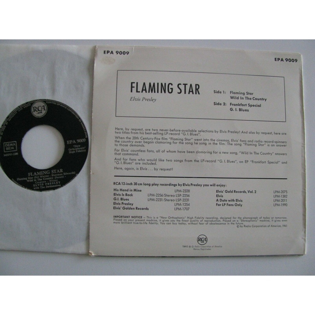 elvis presley 1 black label noir EP germany 1961 flaming star EPA 9009