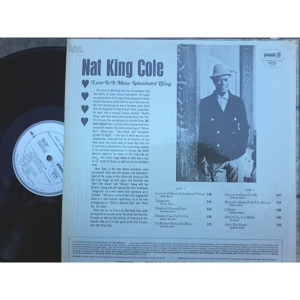 nat king cole love is a splendored thing