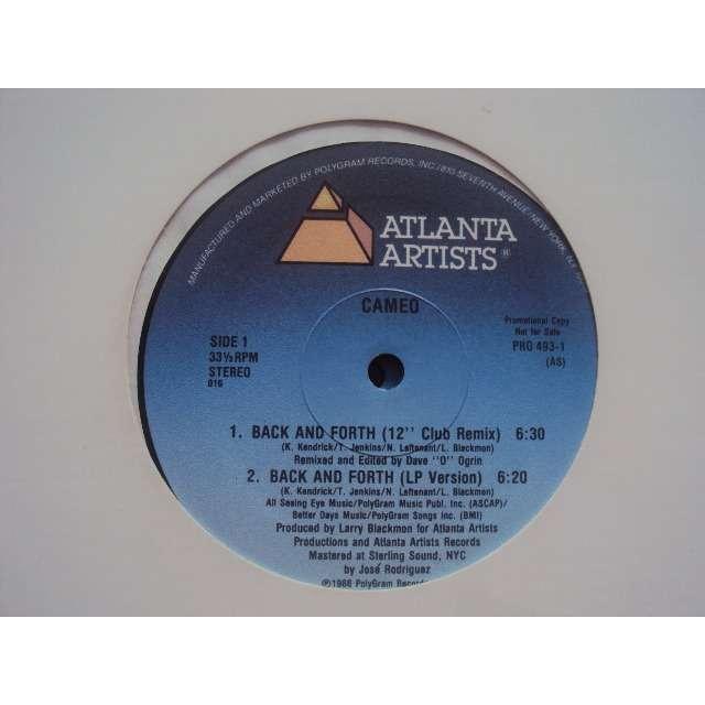Cameo back and forth (12 club remix / lp version / 7 version / dub mix) 1986 usa promo copy