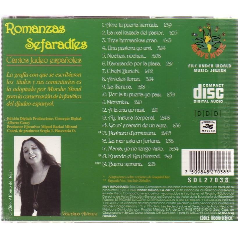 VALENTINA ALVAREZ ROMANZAS SEFARADIES CANTOS JUDEO ESPANOLES