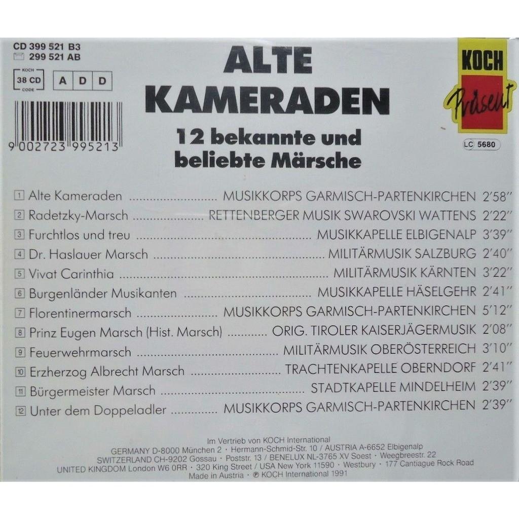 Musikkorps Garmisch-Partenkirchen, Miltär.Salzburg Alte Kameraden - 12 Bekannte Und Beliebste Märsche