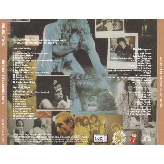THE ROLLING STONES The Complete LA Sunday Tapes