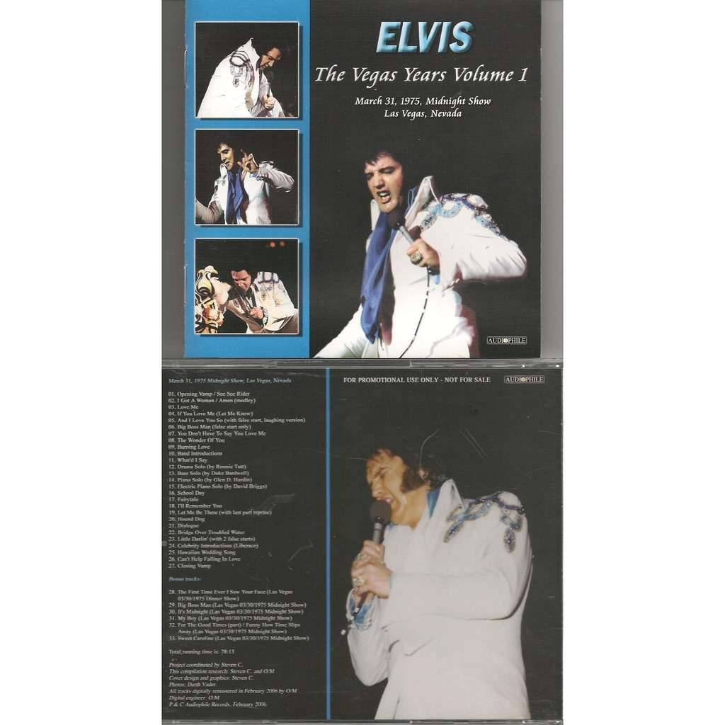 elvis presley 1 cd the vegas years vol.1 cd 31/3/75 las vegas midnight show