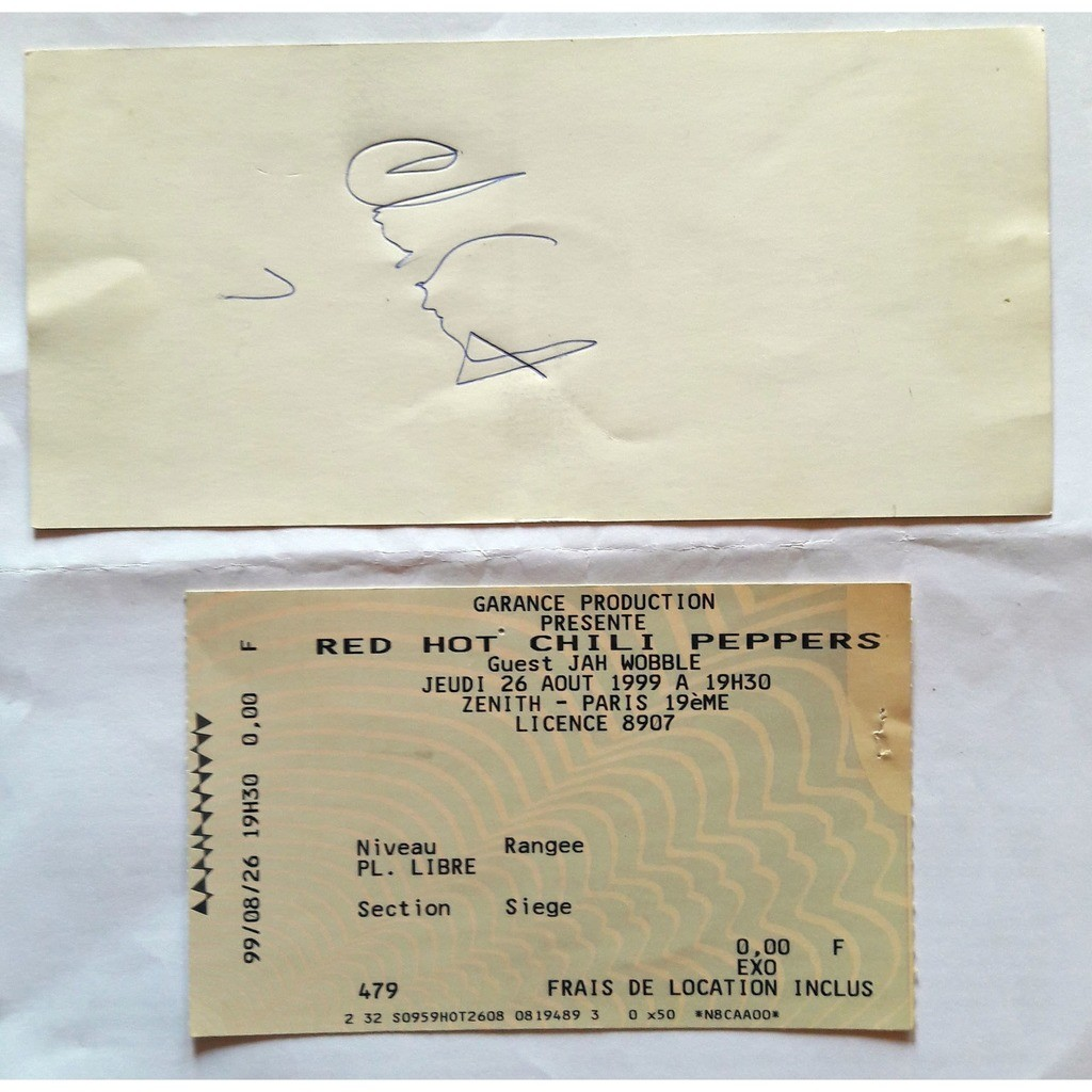 red hot chili peppers VIP ticket - Paris Zenith concert 1999 with Chad Smith signature