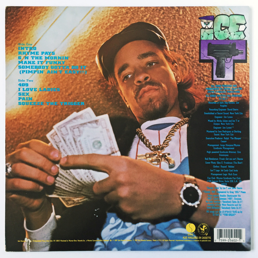 """New Music Ice T /""""Rhyme Pays/"""" LP"""
