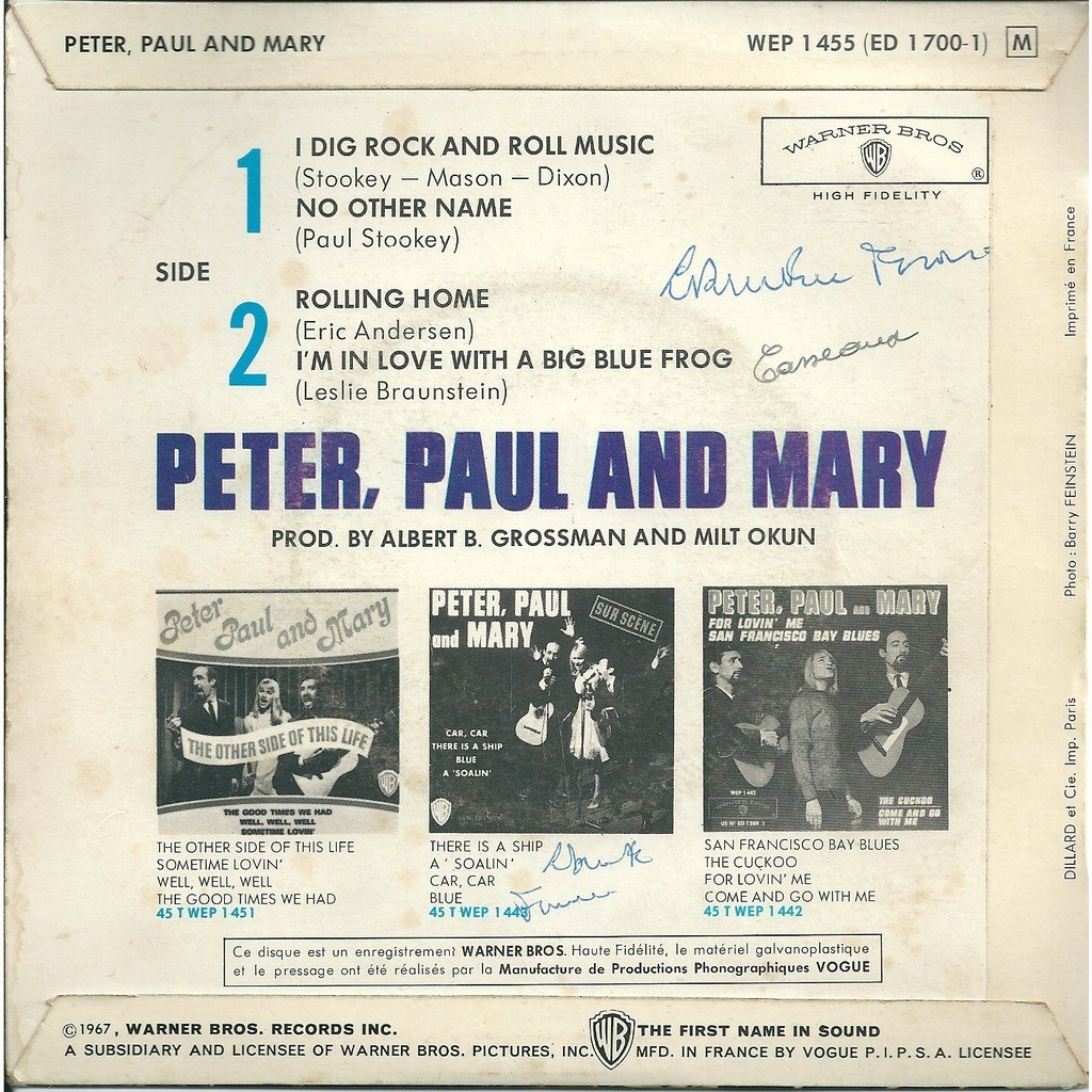 Peter Paul and Mary I dig rock and roll music