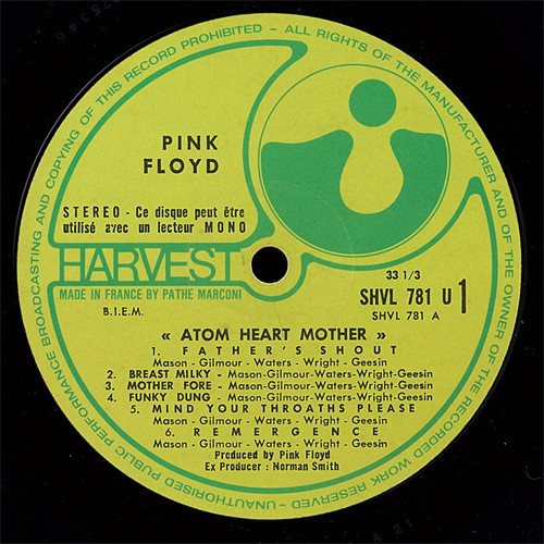 PINK FLOYD (The) Atom heart mother (original French first press - 1970 - Gatefold sleeve - BIEM - Front Pop sticker)