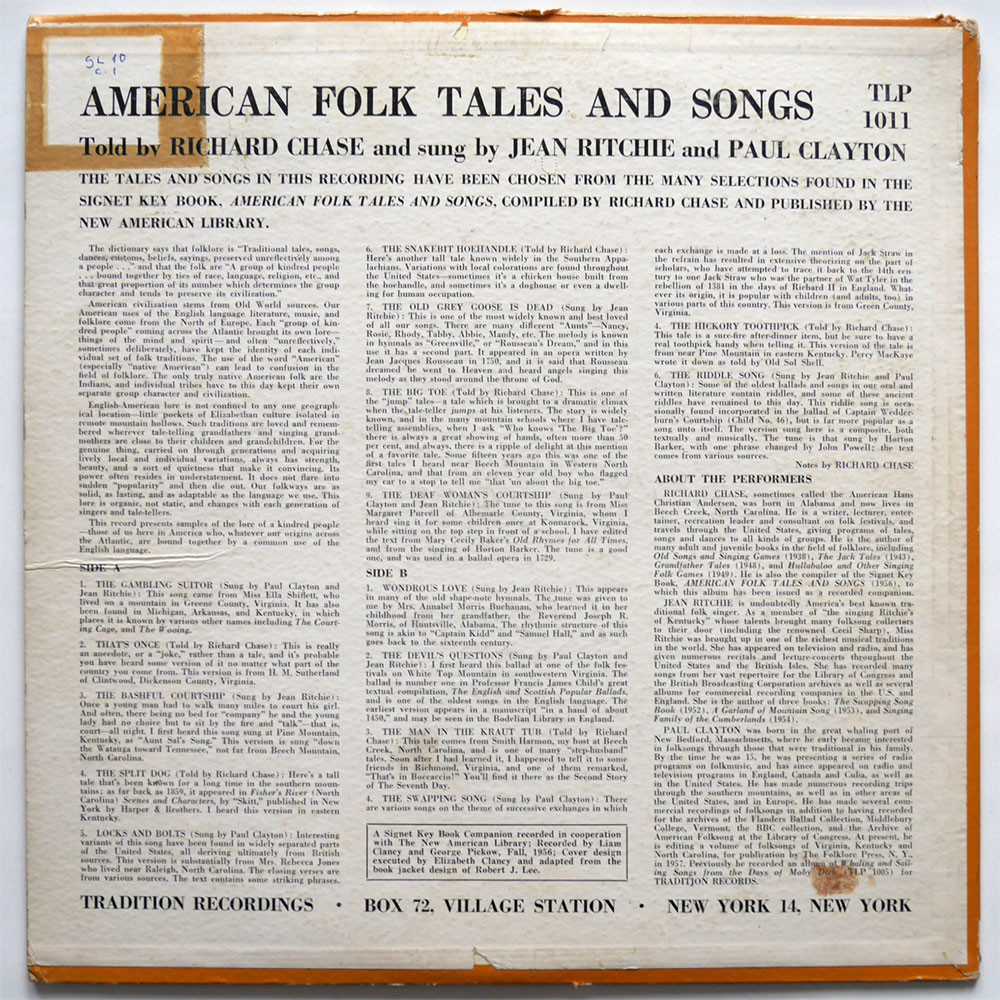 Jean Ritchie, Paul Clayton, Richard Chase American Folk Tales and Songs