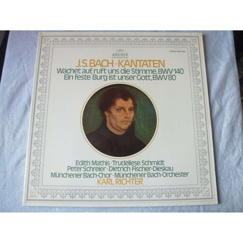 KARL RICHTER / EDITH MATHIS / PETER SCHREIER J.S. BACH : KANTATEN BWV 140 & 80 - ( stéréo mint condition )