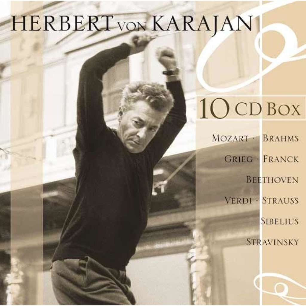 Herbert von Karajan 10 CD Box / Mozart, Brahms, Grieg, Franck, Beethoven, Verdi, Strauss, Sibelius, Stravinsky