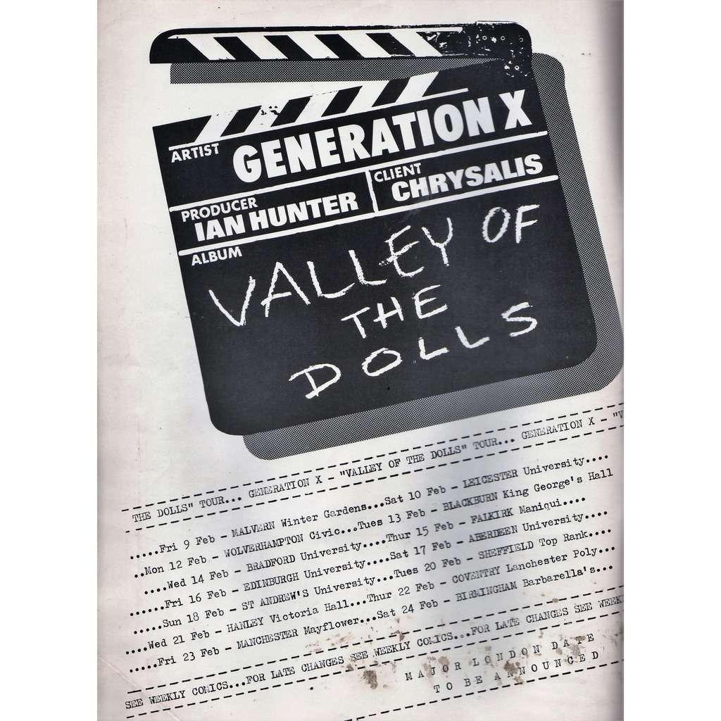 Generation X / Billy Idol The Dolls' Tour (UK 1979 promo type advert 'Tour dates' poster flyer!!)