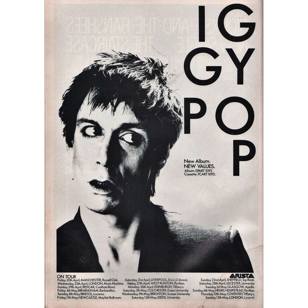 Iggy Pop New Values UK Tour (UK 1979 Arista promo type advert 'Tour Release Dates' poster flyer!)