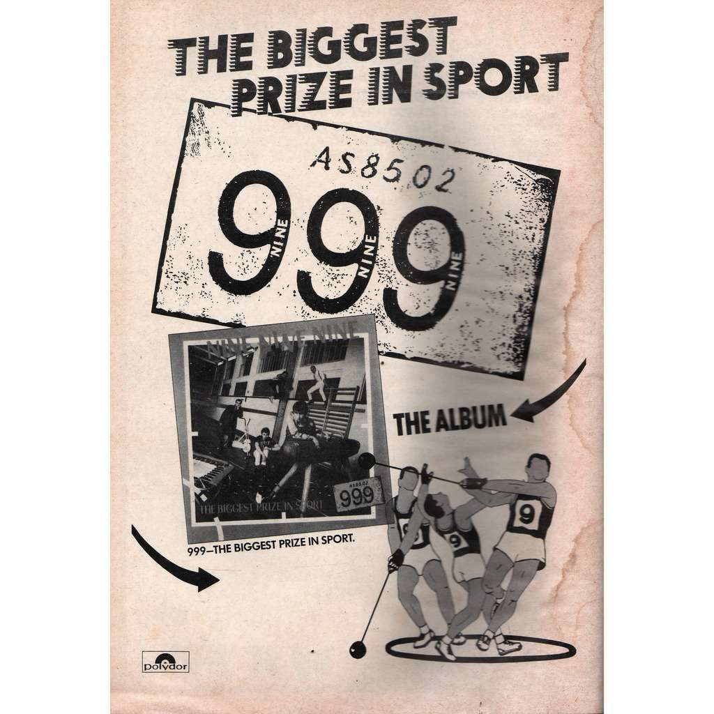 999 The Biggest Prize In Sport (UK 1980 Polydor promo type advert 'album release' poster flyer!)