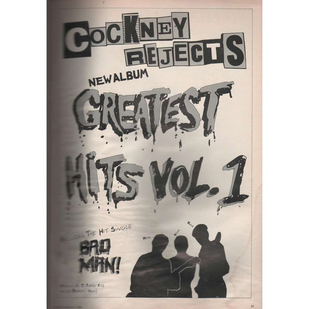 Cockney Rejects Greatest Hits Vol.1 (UK 1980 promo type advert 'album release' poster flyer!)