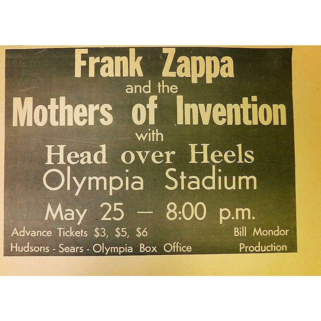 Frank Zappa / Mothers Of Invention Detroit Olympa Stadium 25.05.1971 (USA 1971 promo type advert Concert poster flyer!)