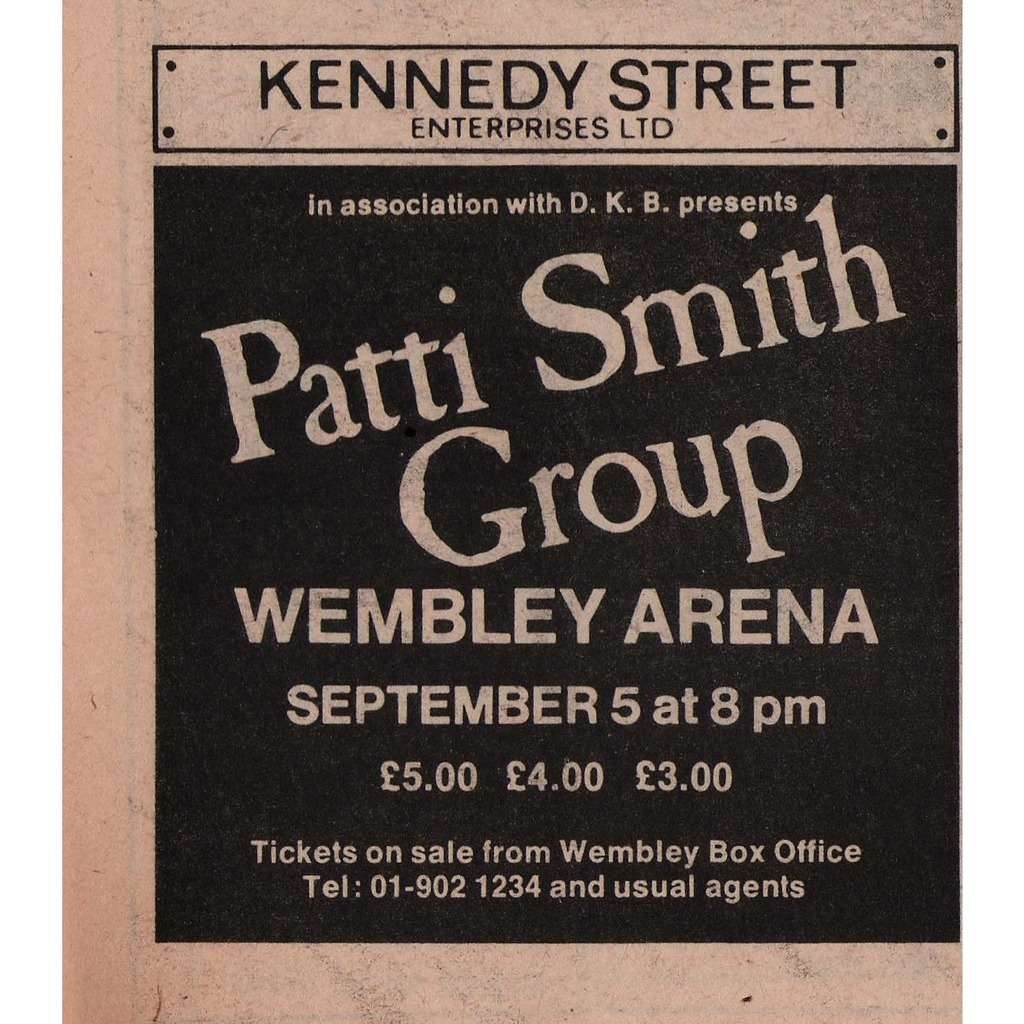 Patti Smith Group Wembley Arena London 05.09.1979 (UK 1979 promo type advert concert flyer!)
