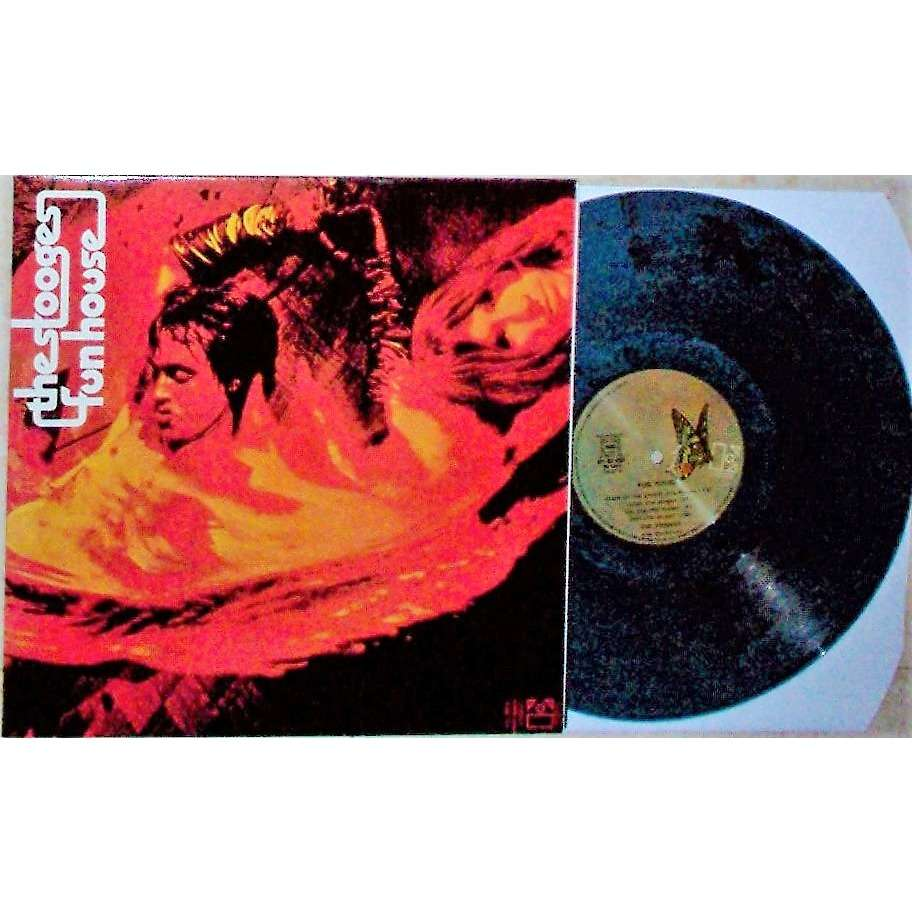 Iggy Pop / The Stooges :Funhouse (French 1970 ltd re 7-trk lp blu-black marbled wax full gf ps)