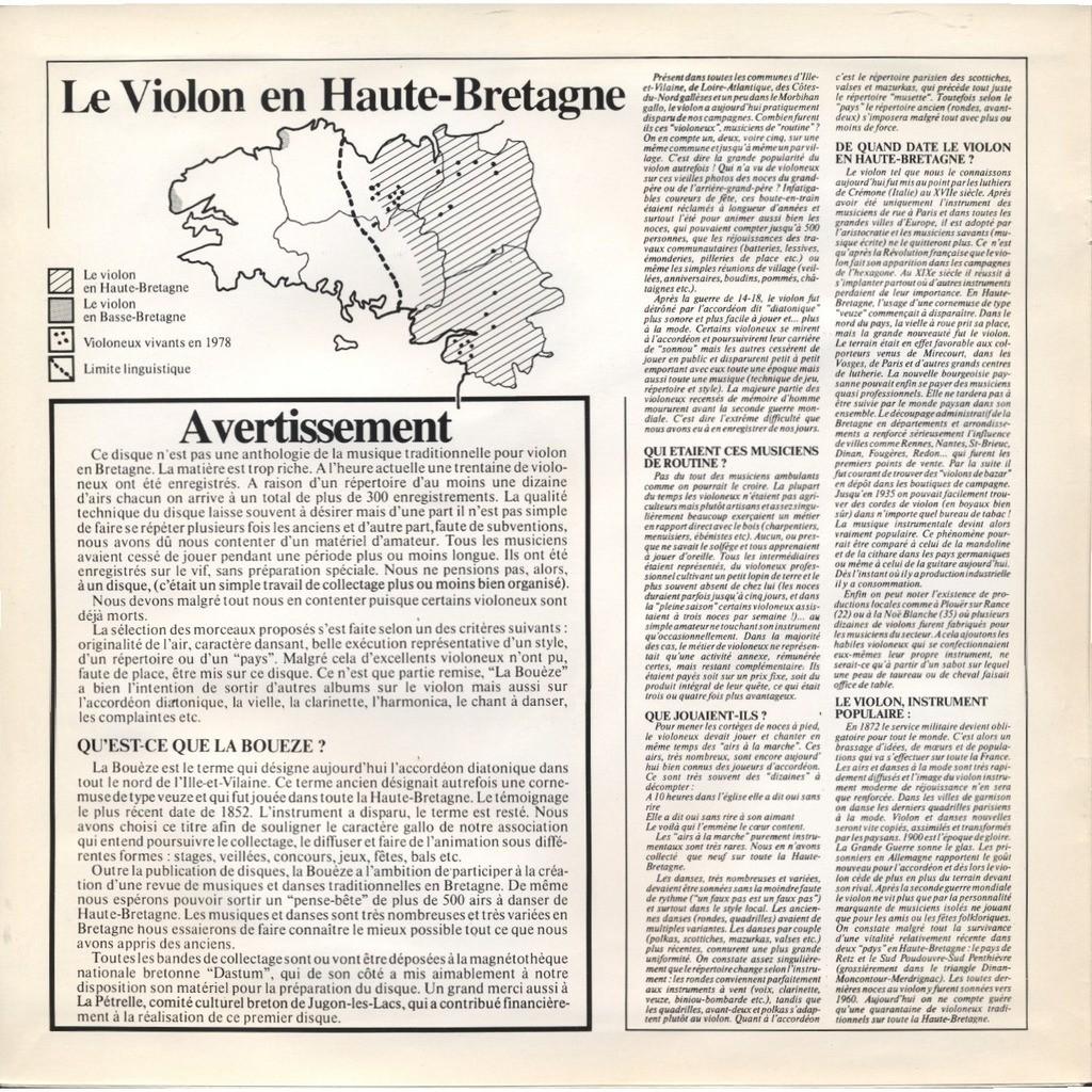 Divers - collectage Violoneux Traditionnels en Bretagne