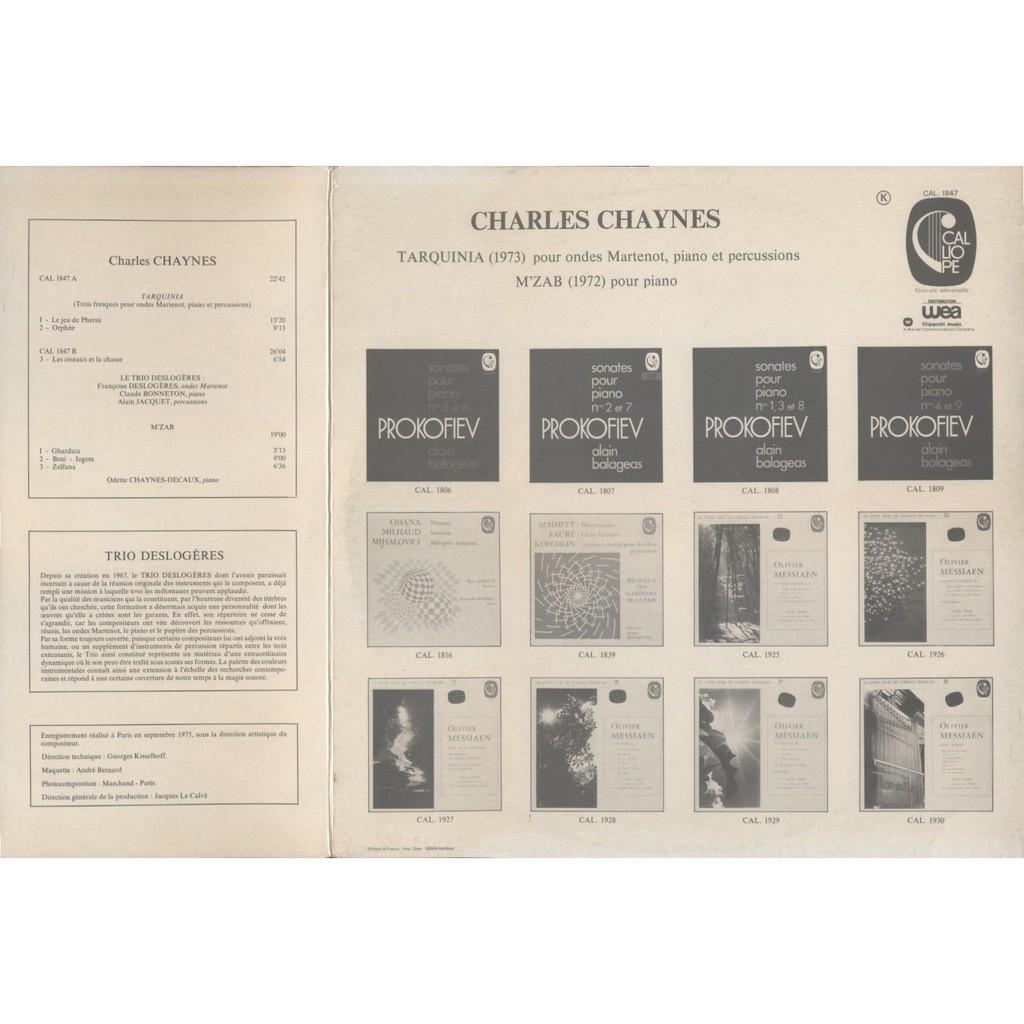 TRIO DESLOGERES (Françoise) / CHARLES CHAYNES CHARLES CHAYNES : Tarquinia (1973) Ondes Martenot Piano Percussions / M'Zab (1972) Piano