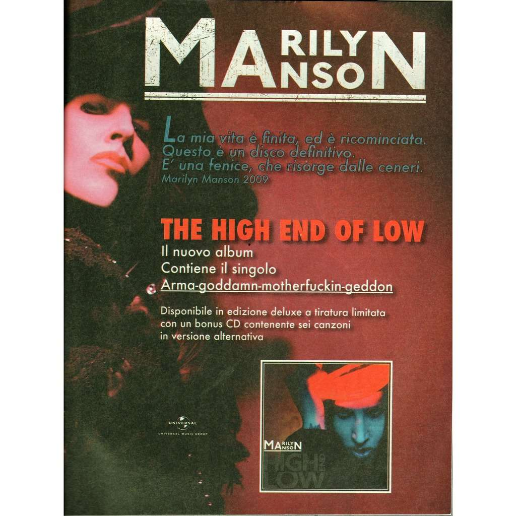 Marilyn Manson The High End Of Low (Italian 2009 promo type advert 'album release' poster flyer!)