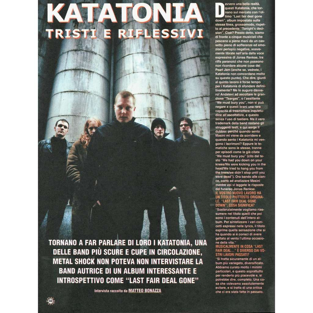 katatonia Metal Shock (N.334/335 May 2001) (Italian 2001 music magazine!)