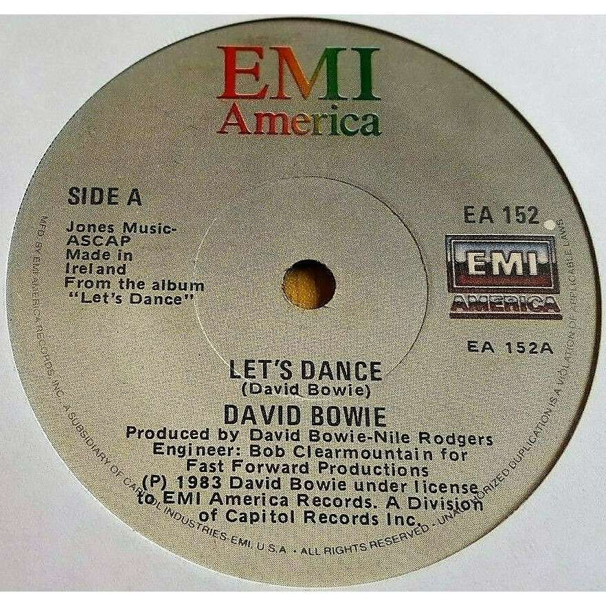 David Bowie Let's Dance (Ireland 1983 original 2-trk 7single on Emi America lbl)