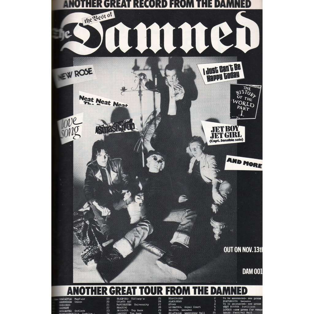 Damned UK Tour Nov. - Dec. 1981 (UK 1981 promo type advert 'Tour dates' concerts poster flyer!)